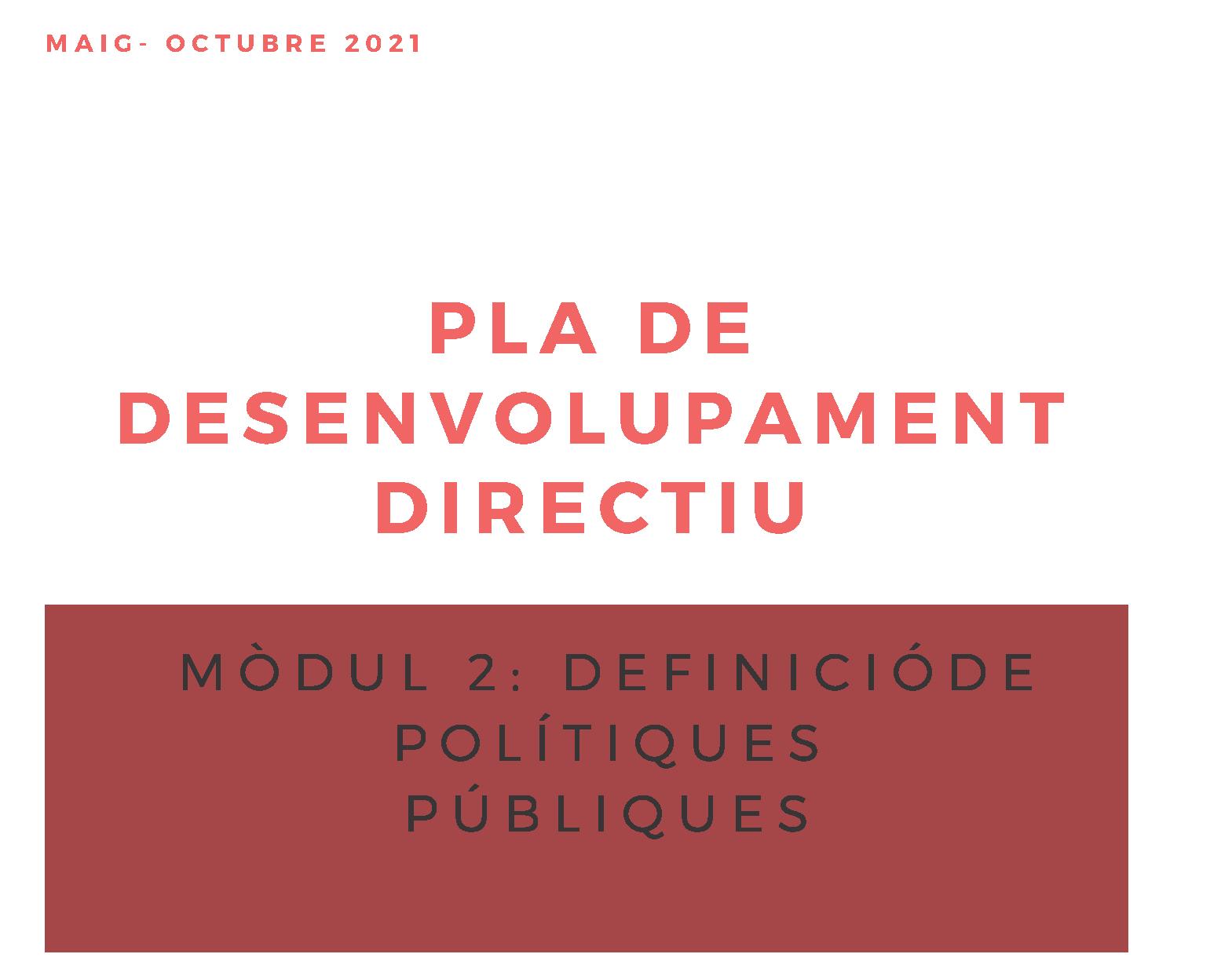 Pla de desenvolupament directiu. Definició de polítiques públiques, 2a edició